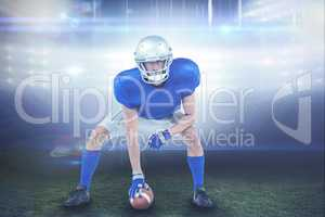 Composite image of alert american football player in attack stan