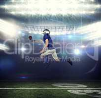 Composite image of american football player trying to catch the