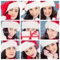 Composite image of unsure brunette in santa hat packing gifts
