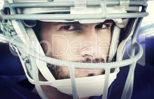 Composite image of close-up portrait of stern american football