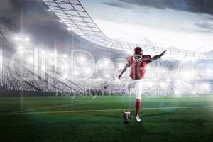 Composite image of american football player kicking football