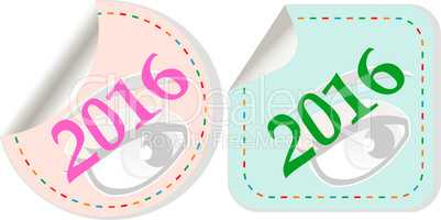 Happy new year 2016 - vector icon with shadow on a grey button