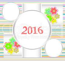 Happy New Year 2016. Decorative vintage ornamental
