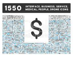 Dollar Icon and More Interface, Business, Tools, People, Medical, Awards Flat Glyph Icons
