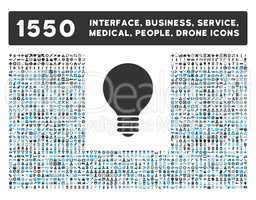 Electric Bulb Icon and More Interface, Business, Tools, People, Medical, Awards Flat Glyph Icons