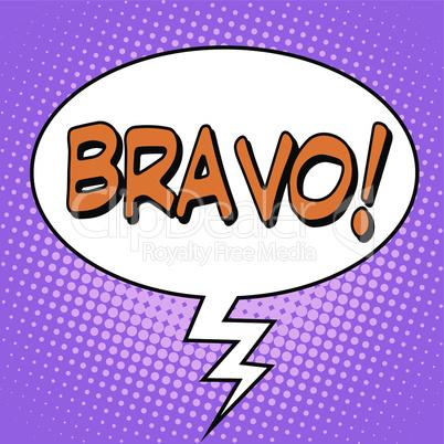 The word Bravo in a comic bubble