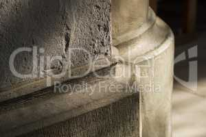 Stone pillar foot in Gothic church .