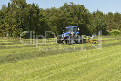 Agriculture, the kidding of shaken grass with blue tractor with