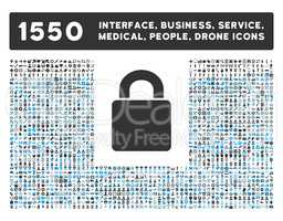 Lock Icon and More Interface, Business, Tools, People, Medical, Awards Flat Glyph Icons