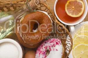 Breakfast of donuts and tea