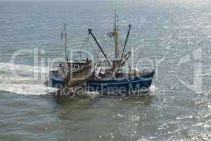 Fishing boat on the Dutch Wadden Sea