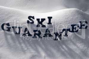 Blue Word Ski Guarantee On Snow