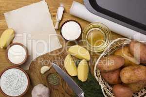 Preparing to bake a potato