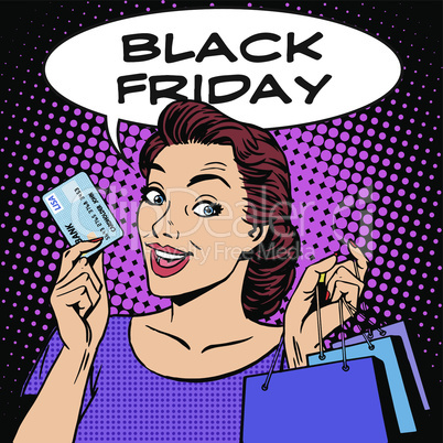 Black Friday woman with business card discounts