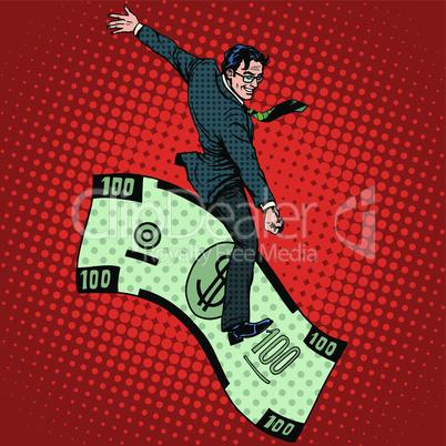 Financial Rodeo businessman riding a dollar