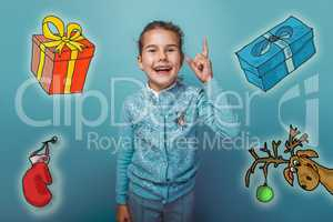 Christmas teen girl raised her thumbs up from behind a sketch deer gifts mitten new year