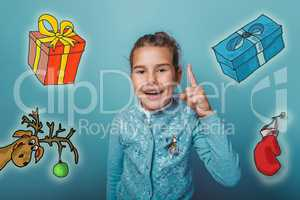 Christmas girl teen raised her thumbs up from behind a sketch deer gifts mitten new year