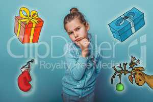 Christmas girl teen thinking sketch deer gifts mitten new year