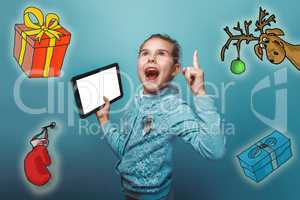 Christmas girl teen Keep your tablet idea lifted thumbs up sketch deer gifts mitten new year