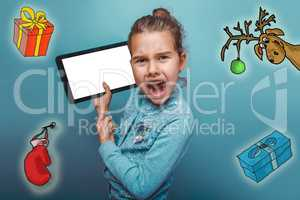 Christmas girl teen Keep your tablet shouts sketch deer gifts mitten new year