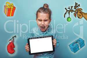 Christmas girl teen Keep your tablet shouts sketch deer gifts new year mitten