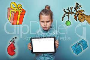 Christmas girl teen angry frown keeps tablet sketch deer gifts new year mitten