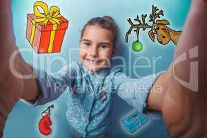 Christmas girl teen making self photo sketch deer sELF gifts new year mitten