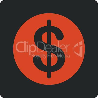 Bicolor Orange-Gray--dollar coin.eps