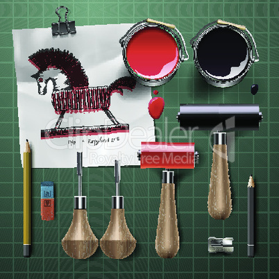 Set of  tools and supplies for engraving, vector illustration.