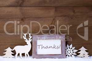 Shabby Chic Christmas Card With Thanks