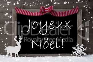Gray Card, Snow, Loop, Joyeux Noel Mean Merry Christmas