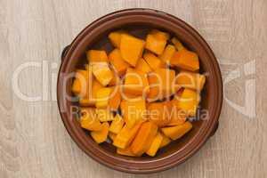 Pumpkin sliced clay pot