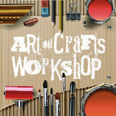 Art and crafts template with artist tools, vector illustration.