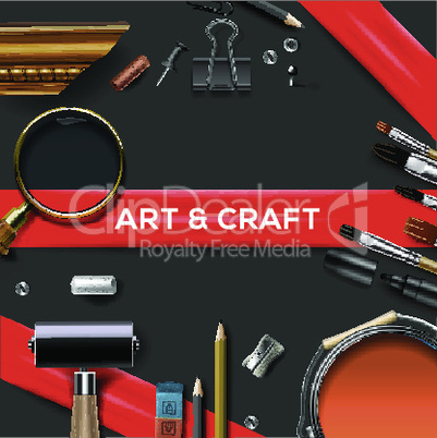 Art and crafts template, vector illustration.