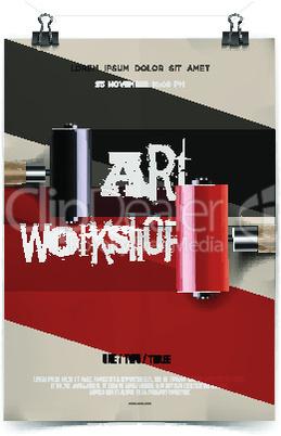 Art workshop template, vector illustration.