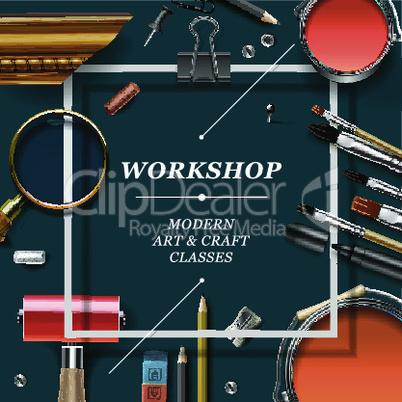 Artist workshop template, vector illustration.