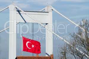 Turkish Flag With The Fatih Sultan Mehmet Bridge