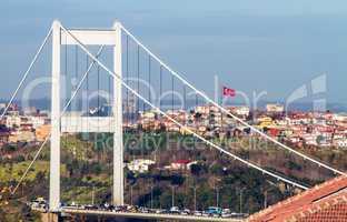 The Fatih Sultan Mehmet Bridge With Turkish Flag