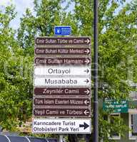 Touristic Directional Signs In Bursa, Turkey