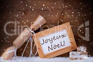 Gift With Text Joyeux Noel Mean Merry Christmas, Snowflake, Snow
