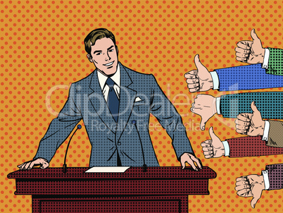 Businessman speaker business concept like dislike hands