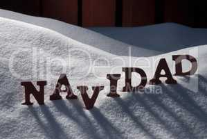 Card With Snow And Word Navidad Mean Christmas