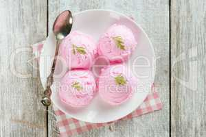 Top view strawberry ice cream on plate