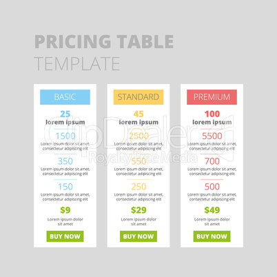 three tariffs. interface for the site