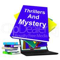 Thrillers and Mystery Book Laptop Shows Genre Fiction Books