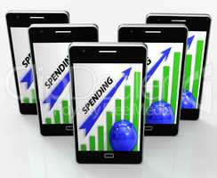 Spending Graph Phone Means Costs Expenses And Outlay
