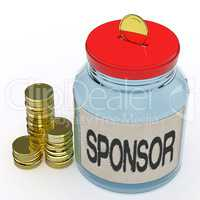 Sponsor Jar Means Donating Helping Or Aid