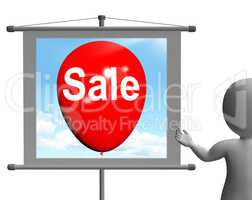 Sale Sign Shows Discount and Offers in Selling