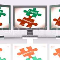 Products Services Puzzle Screen Means Company Goods And Service