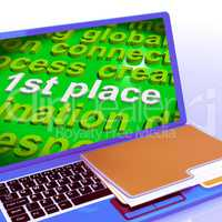 First Place Word Cloud Laptop Shows 1st Winner Reward And Succes